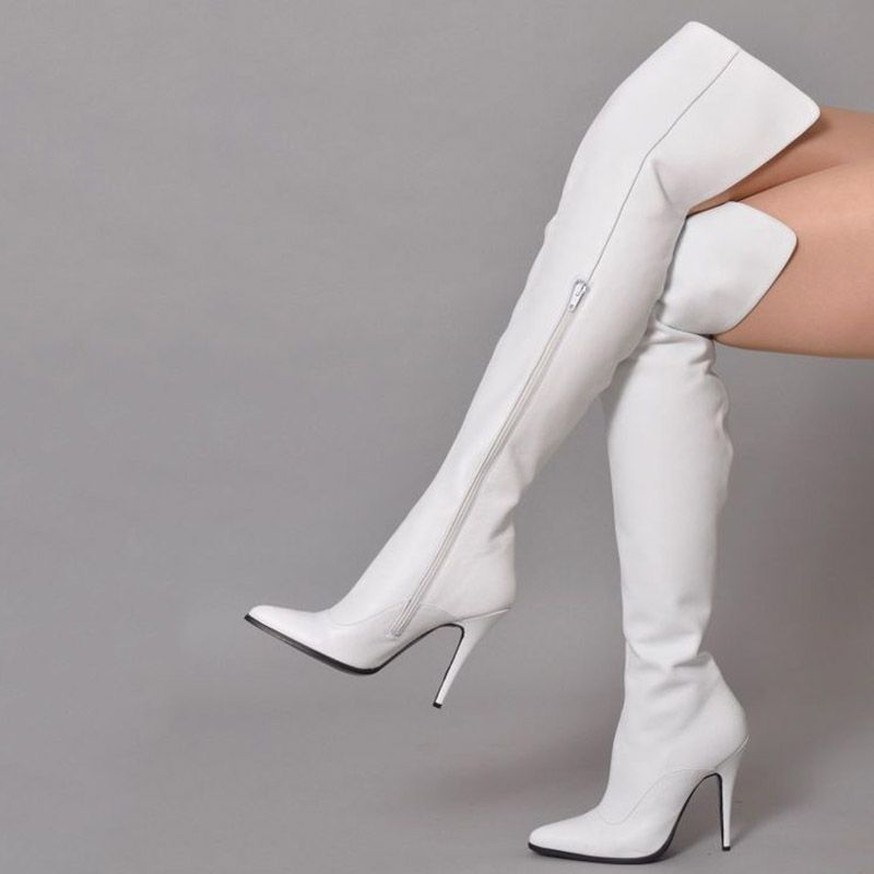 16369443ad3 Trendy White Pointed Toe Side Zipper Thigh High Boots in 2019