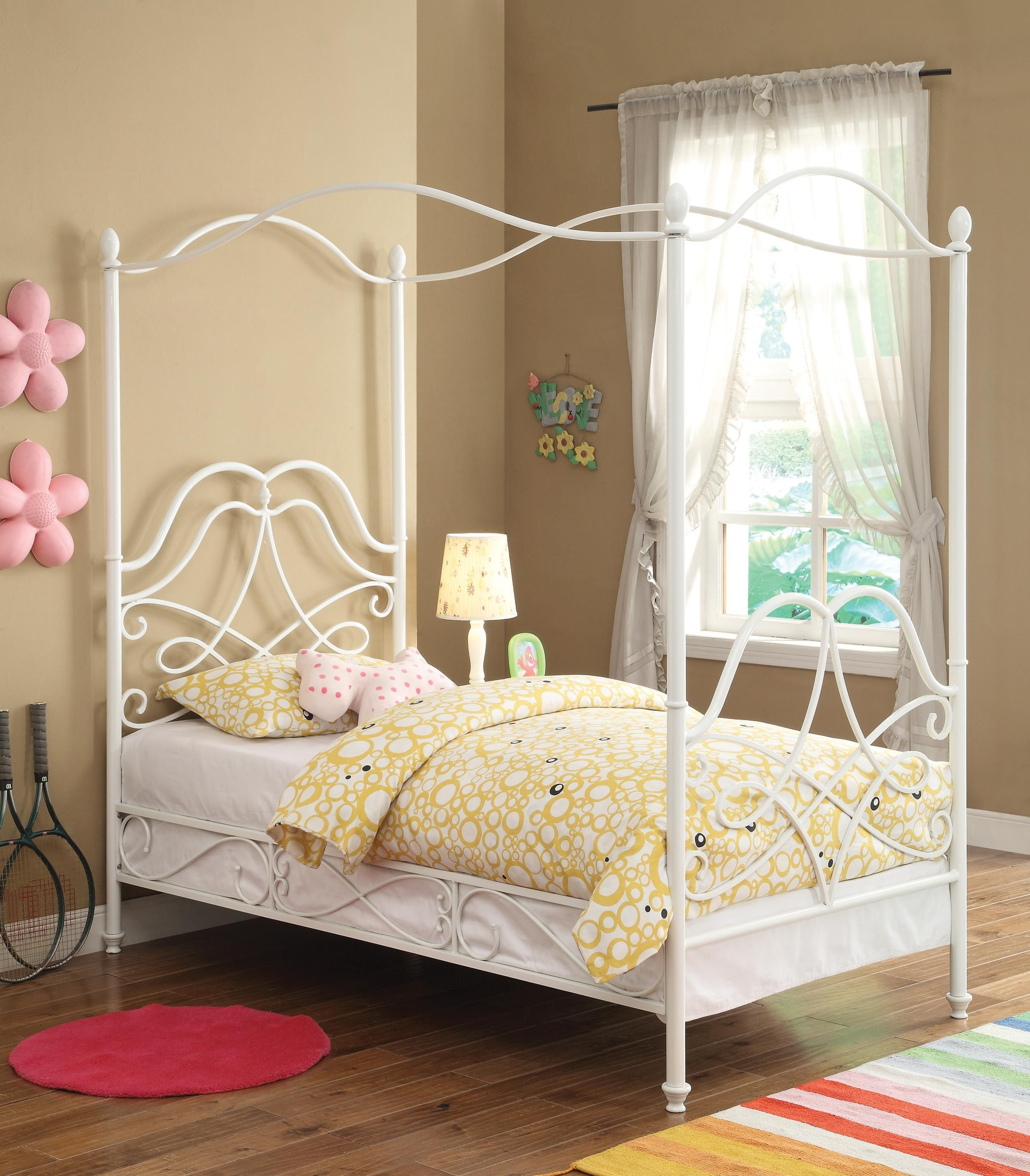 White Metal Twin Size Youth Canopy Bed by Coaster Twin