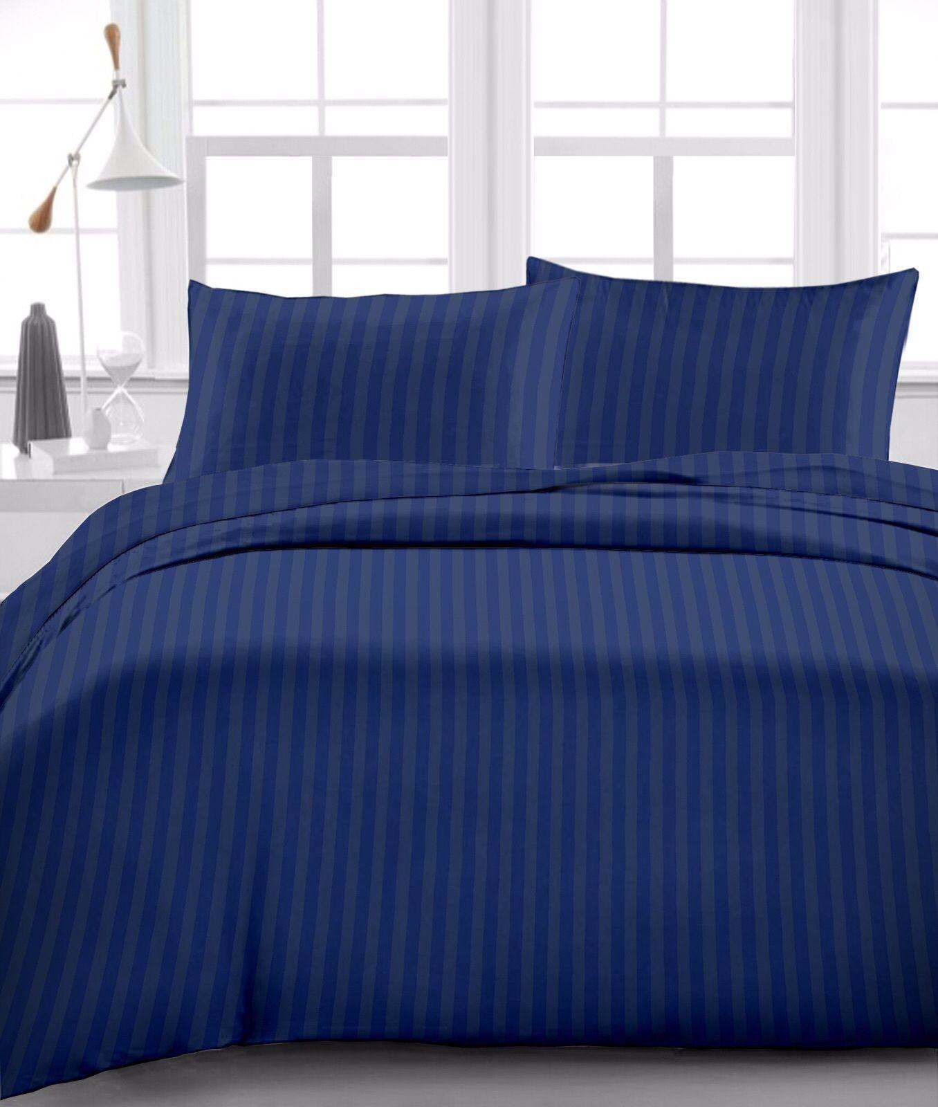 ensembles de couette housses de couette 6 pcs sheet set egyptian cotton sateen weave drop 8 to 20 inch navy blue stripe