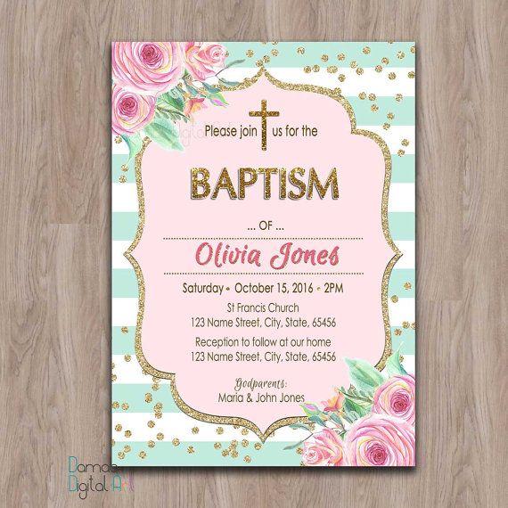 Baptism invitation girl printable, girl baptism invitation, baptism - invitation for baptism girl