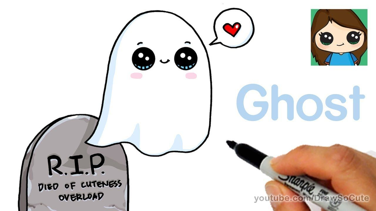 How To Draw A Ghost Super Easy Youtube Cute Drawings Draw So Cute Videos Cartoon Drawings