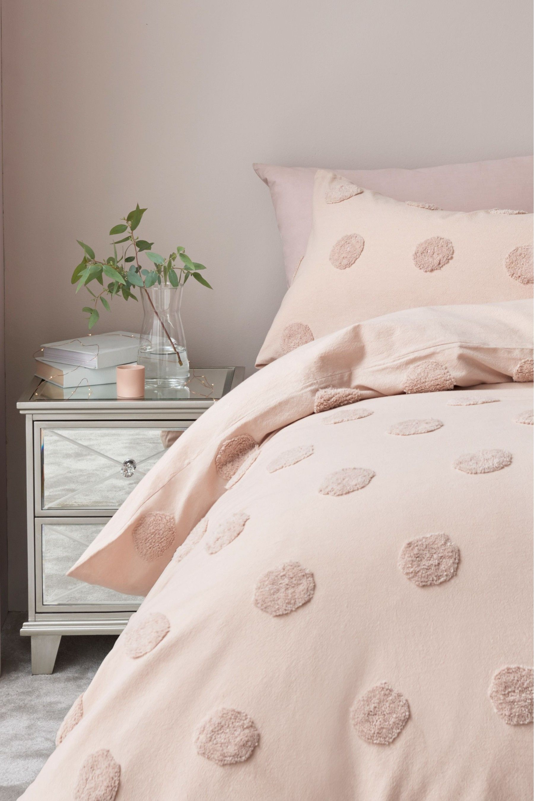 Next 100 Cotton Tufted Spot Duvet Cover and Pillowcase