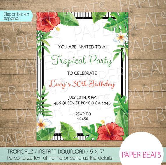 TROPICAL INVITATION / 5X7 / Printable tropic por PAPERBEATS en Etsy