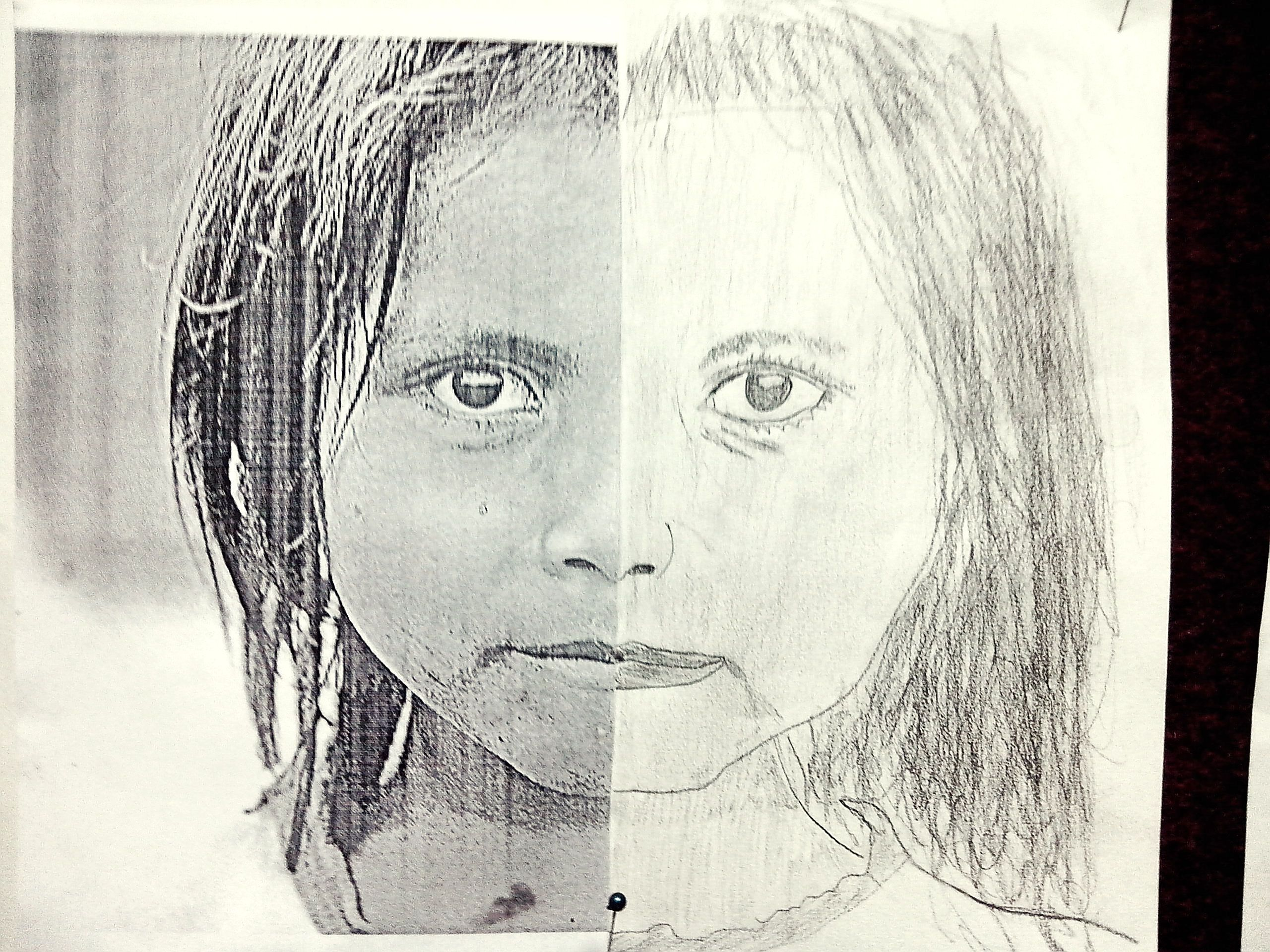 Line Drawing Of Child S Face : Kid s work black and white drawing pencil child double