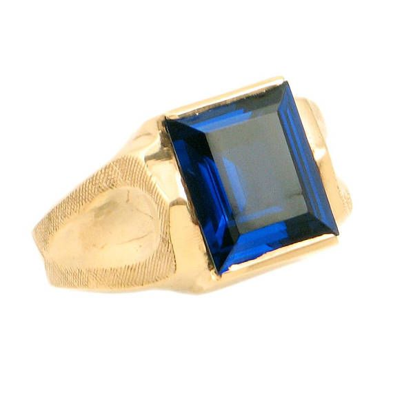 Vintage Men S 10k Gold Simulated Sapphire Ring Size 10 Vintage Men Size 10 Rings Gold Sapphire Ring