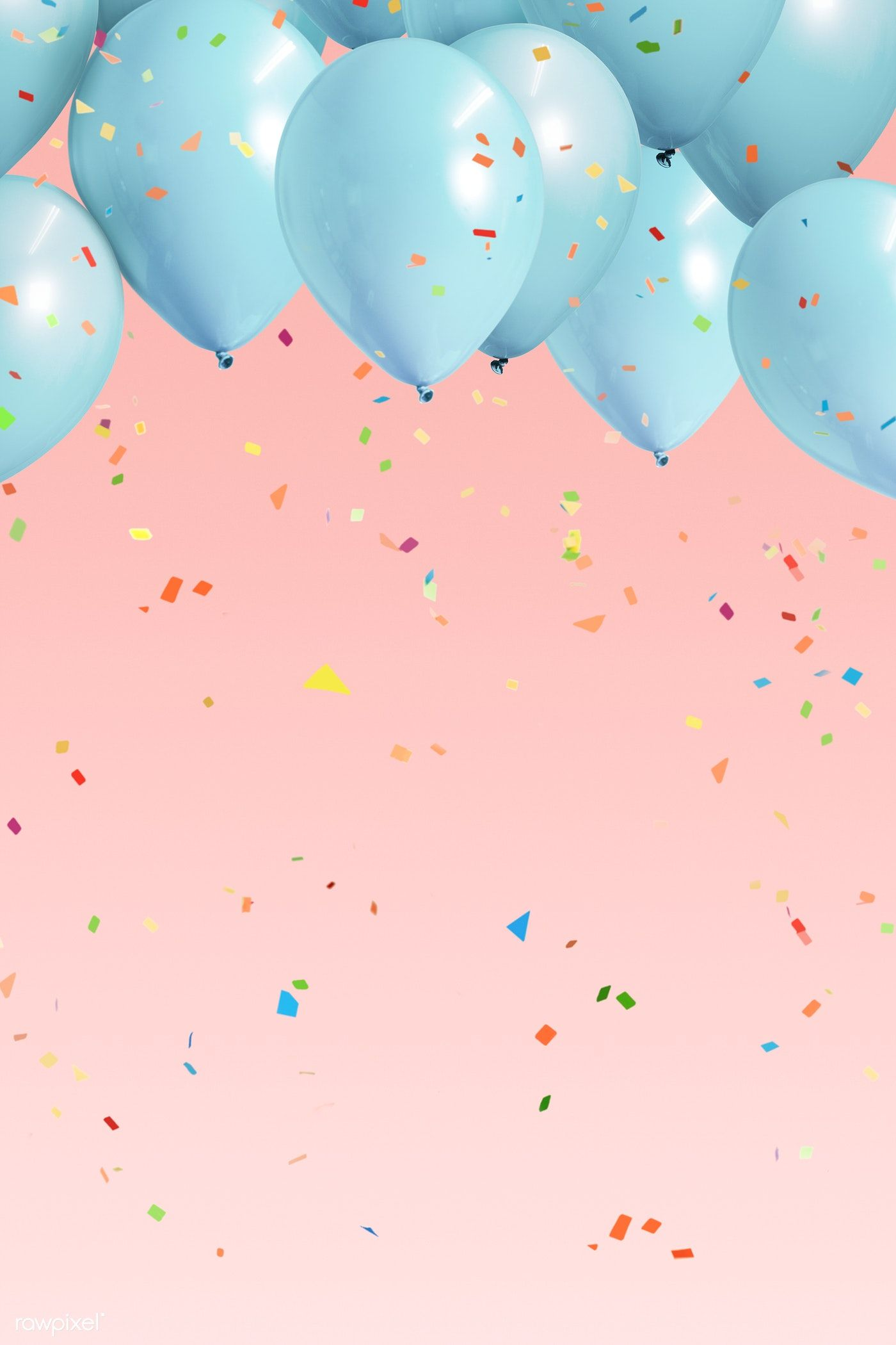 Download Premium Illustration Of Pastel Blue Balloons On A Pink Background Cute Pink Background Pink Background Birthday Background Design