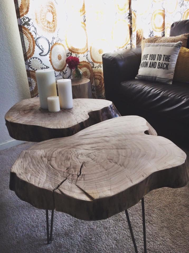 Rustic Tree Stump Tables w/ Hairpin Legs my hubby built for me.