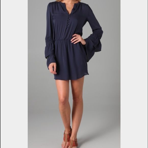 Long sleeve blue Parker dress Blue Parker dress in size large, long sleeves, can be worn with heels or flats! Parker Dresses Midi