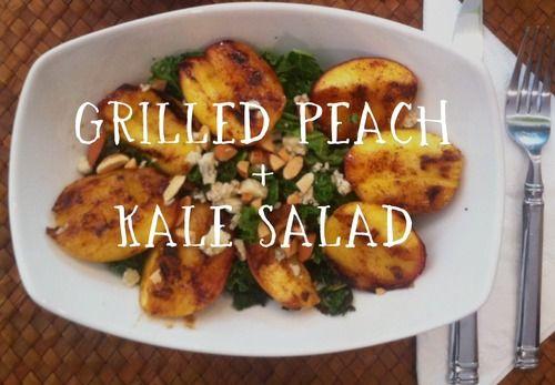 Grilled Peach + Kale Salad