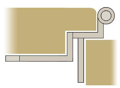 cabinet door diagram yamaha big bear 350 wiring a showing an offset hinge closed between and frame