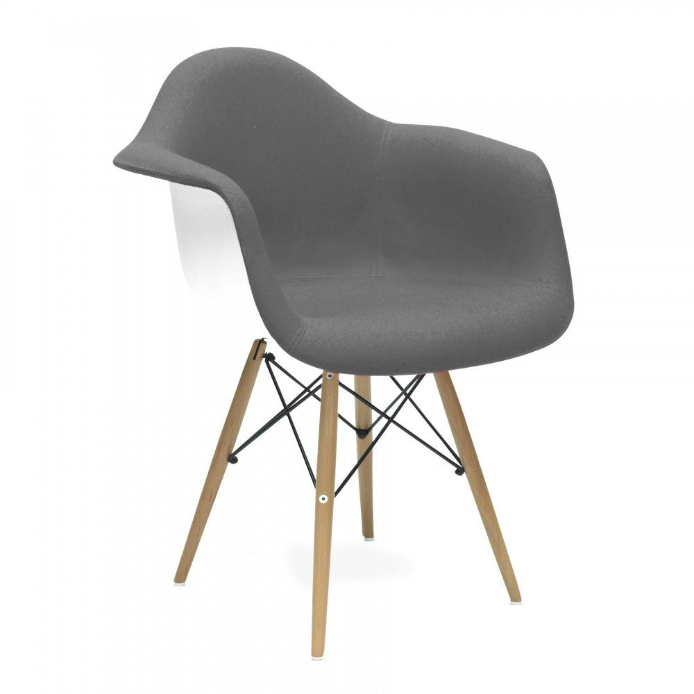 Iconic Designs Upholstered Grey DAW Chair Chair, Eames