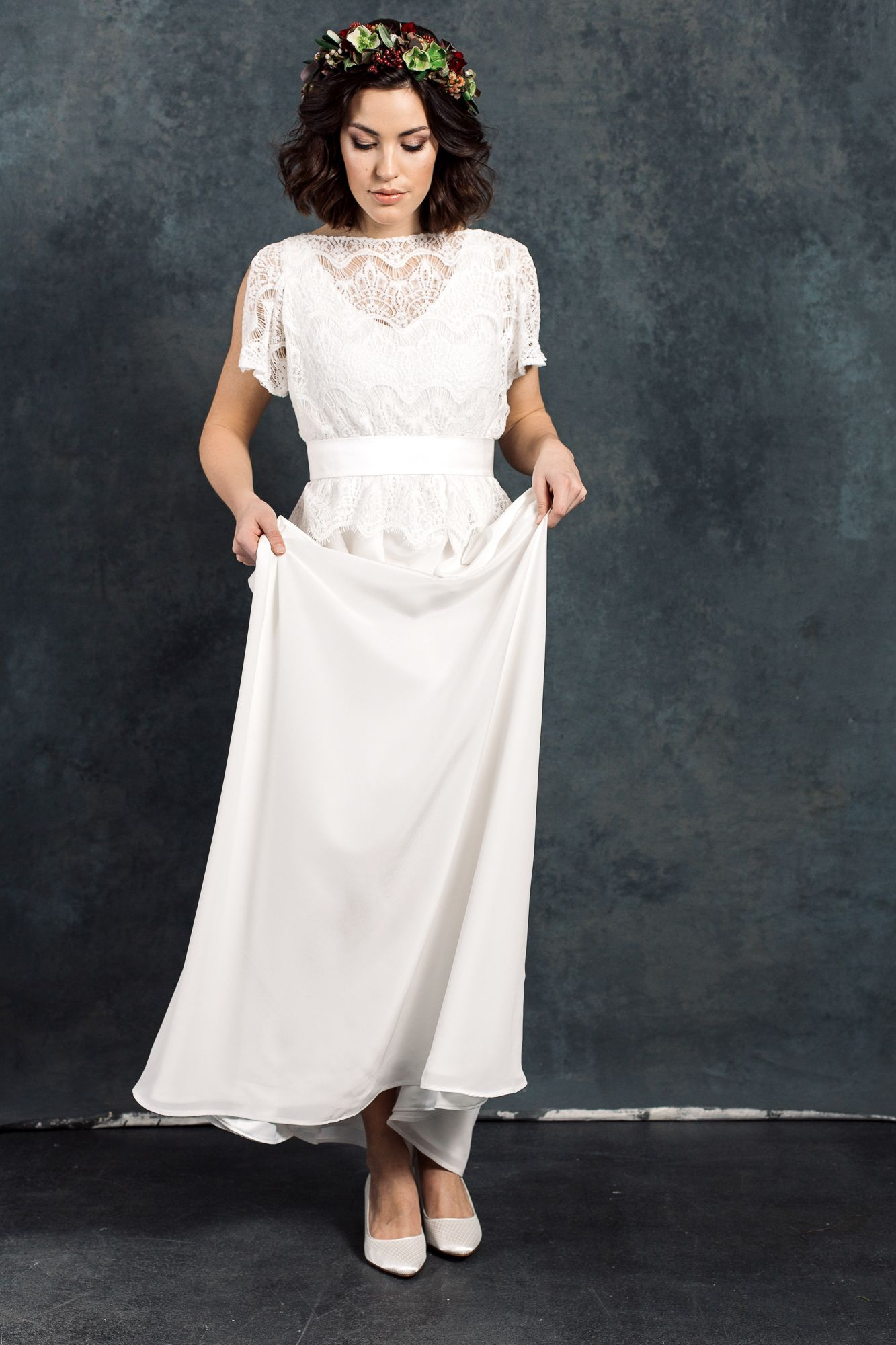 Labude Brautkleid Viola - Bridal Dress Boho- Vintagestil Lace Top ...