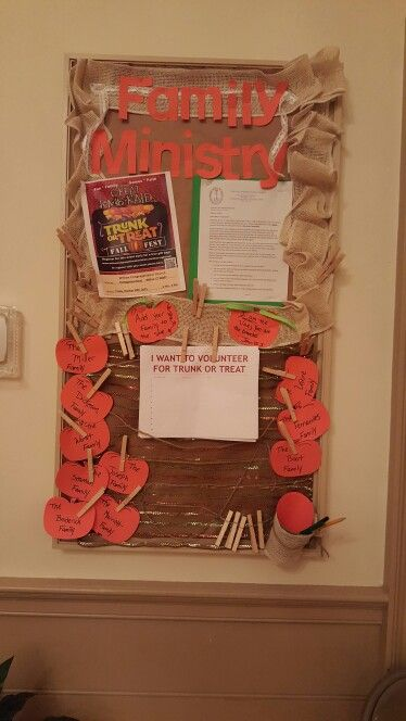 Family ministry bulletin board for trunk or treat volunteer sign up