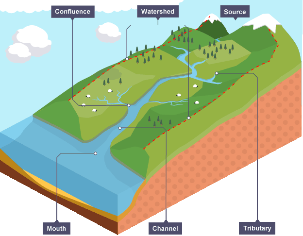Key features of a river include tributaries channels and the learn about and revise key stages in the water cycle and river terminology with bbc bitesize gcse geography ccuart Images