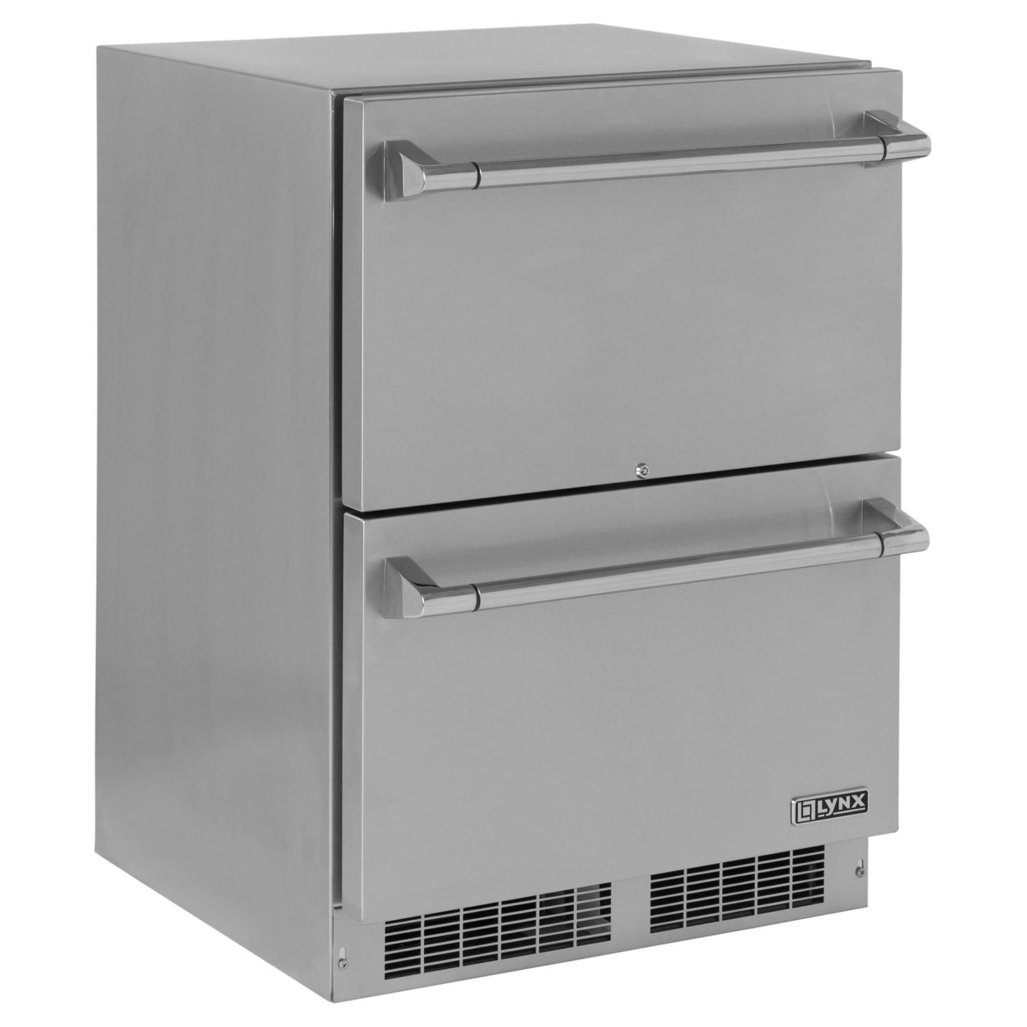 Lynx 24 5 0 Cu Ft Outdoor Rated Double Drawer Refrigerator Lm24dwr Outdoor Refrigerator Refrigerator Drawers
