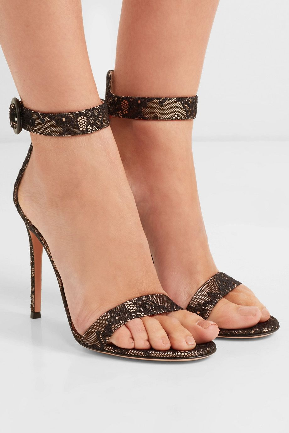 Black Portofino 105 Lace Sandals Gianvito Rossi In 2020 Lace Sandals Ankle Strap Sandals Heels Dress Shoes Womens