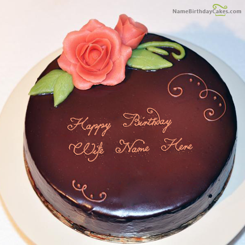 Write name on Lovely Chocolate Cake For Wife Happy Birthday Wishes