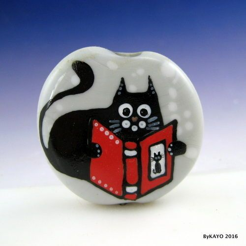 """THE CLEVER CAT"" byKAYO a Handmade BOOK LOVER Lampwork Art Glass Focal Bead SRA #Lampwork"