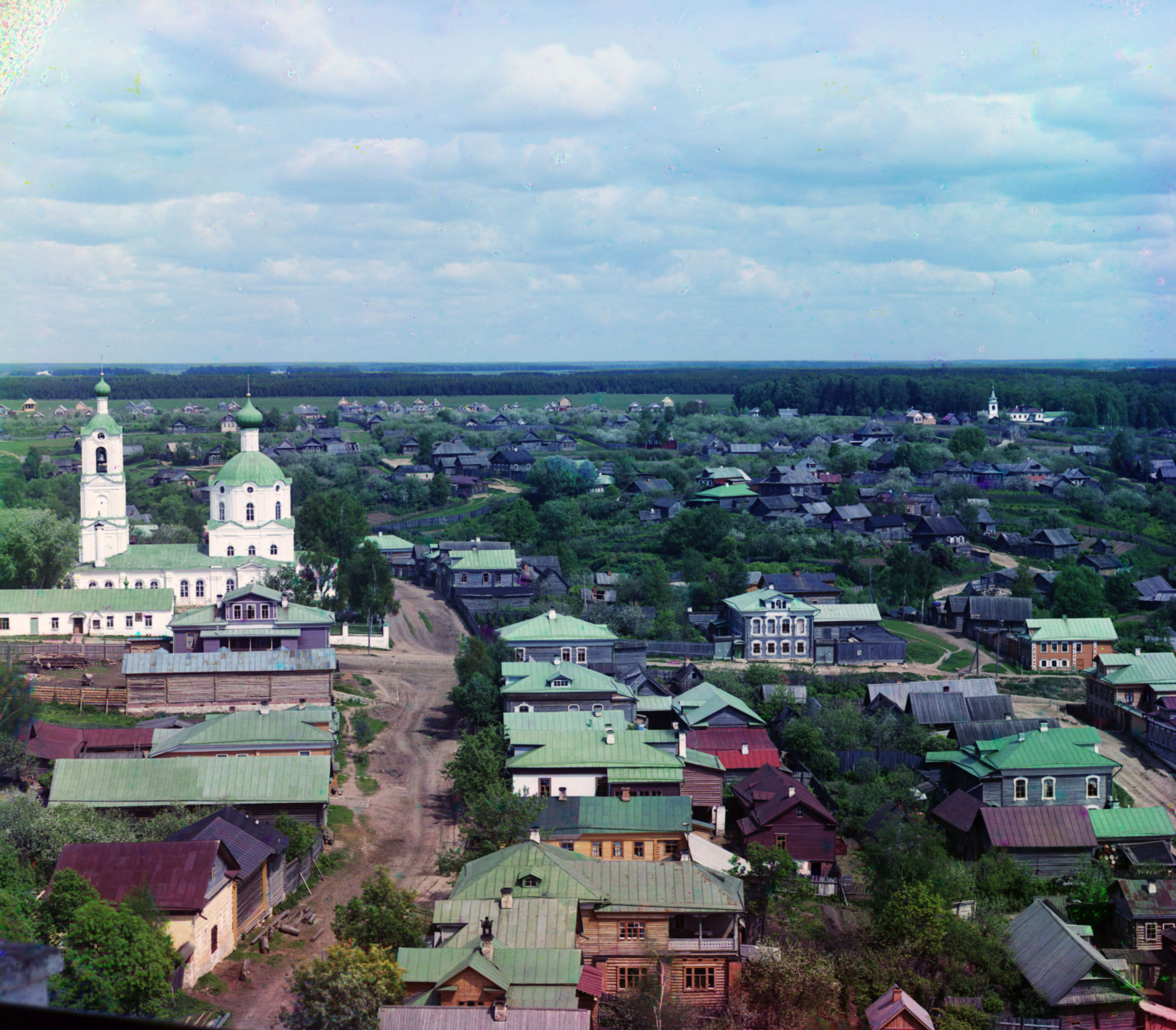(1910) City of Rzhev with the Holy Protectoress Mother of God Church at the left.