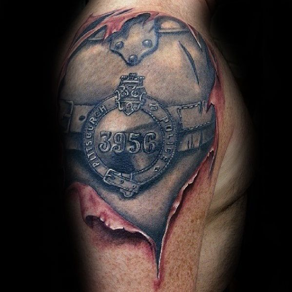 Top 47 Police Tattoo Ideas 2020 Inspiration Guide Police Tattoo Quarter Sleeve Tattoos Sleeve Tattoos
