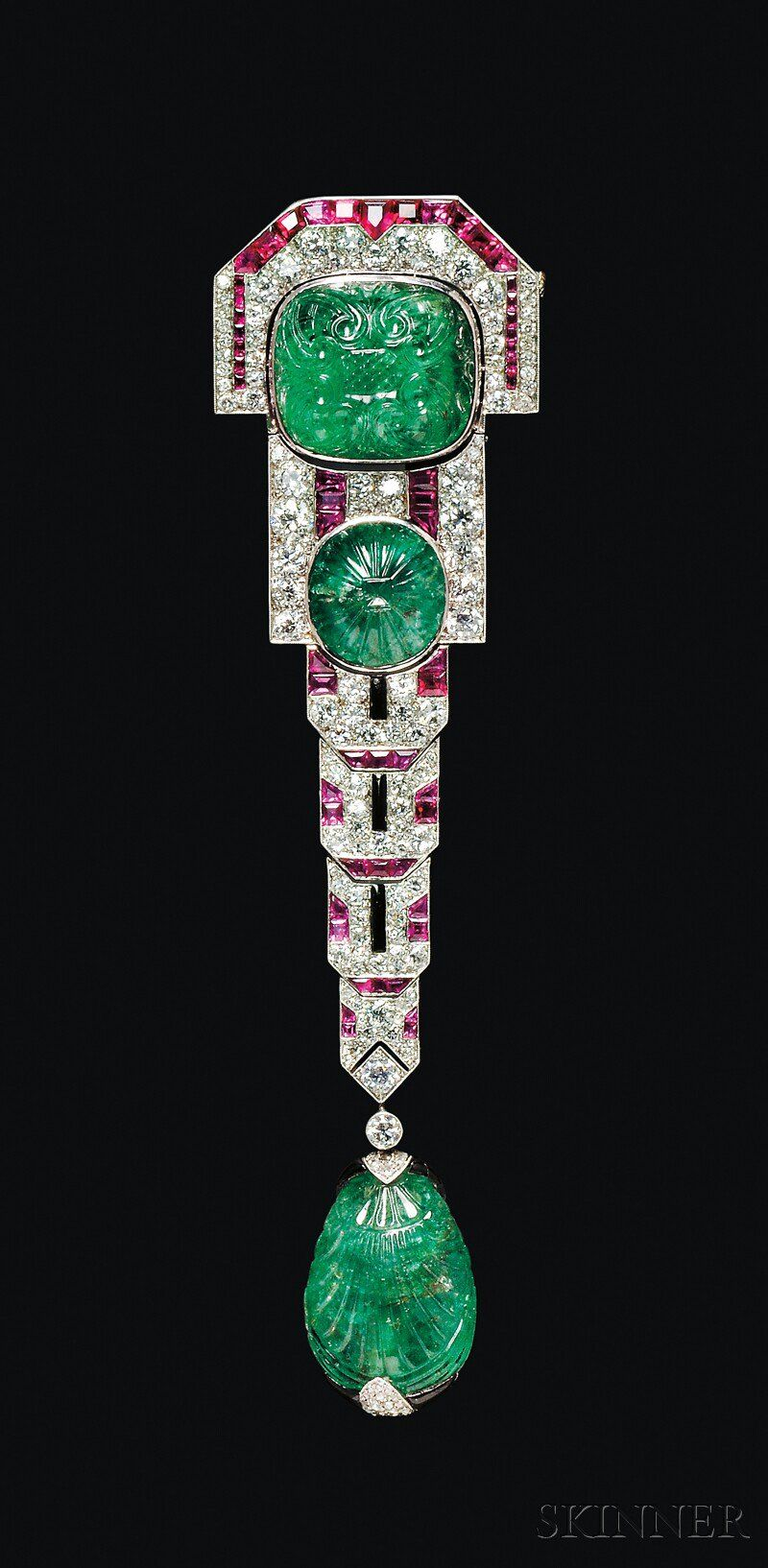 Fine Art Deco Carved Emerald, Ruby, and Diamond Pendant Brooch, Chaumet