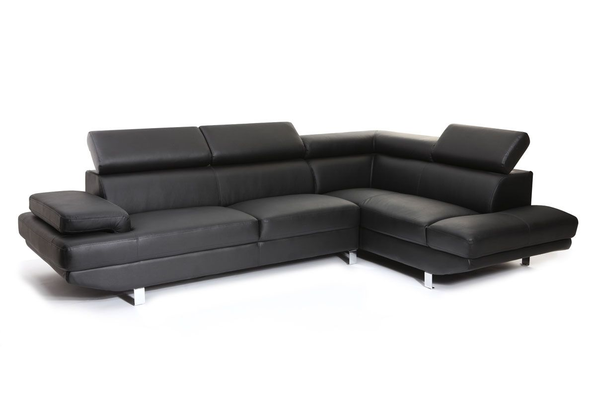 Canapé d angle en cuir noir avec tªti¨res ajustables JENKINS Zoom