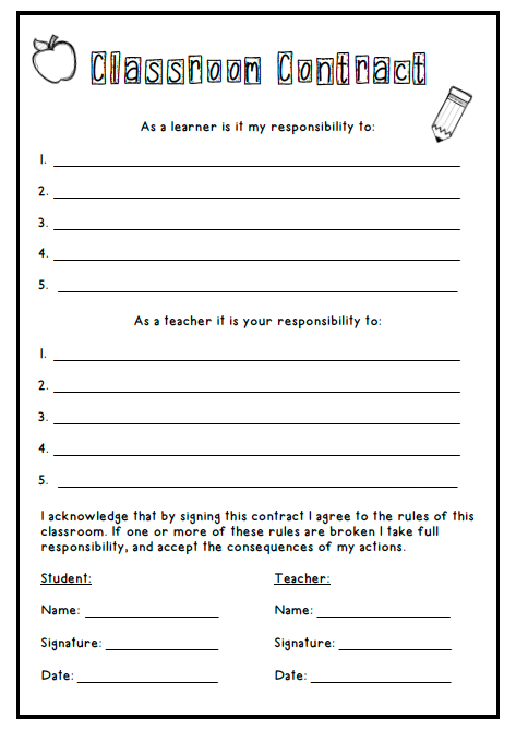 Classroom Contract Freebie In Using The Form Of A Contract Where