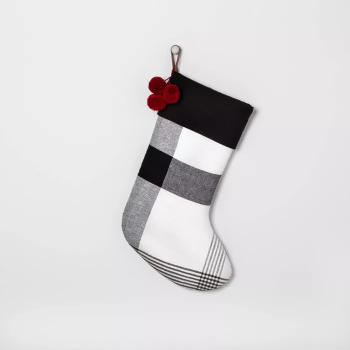 Holiday Stockig Black & White Plaid With Red Poms Hearth