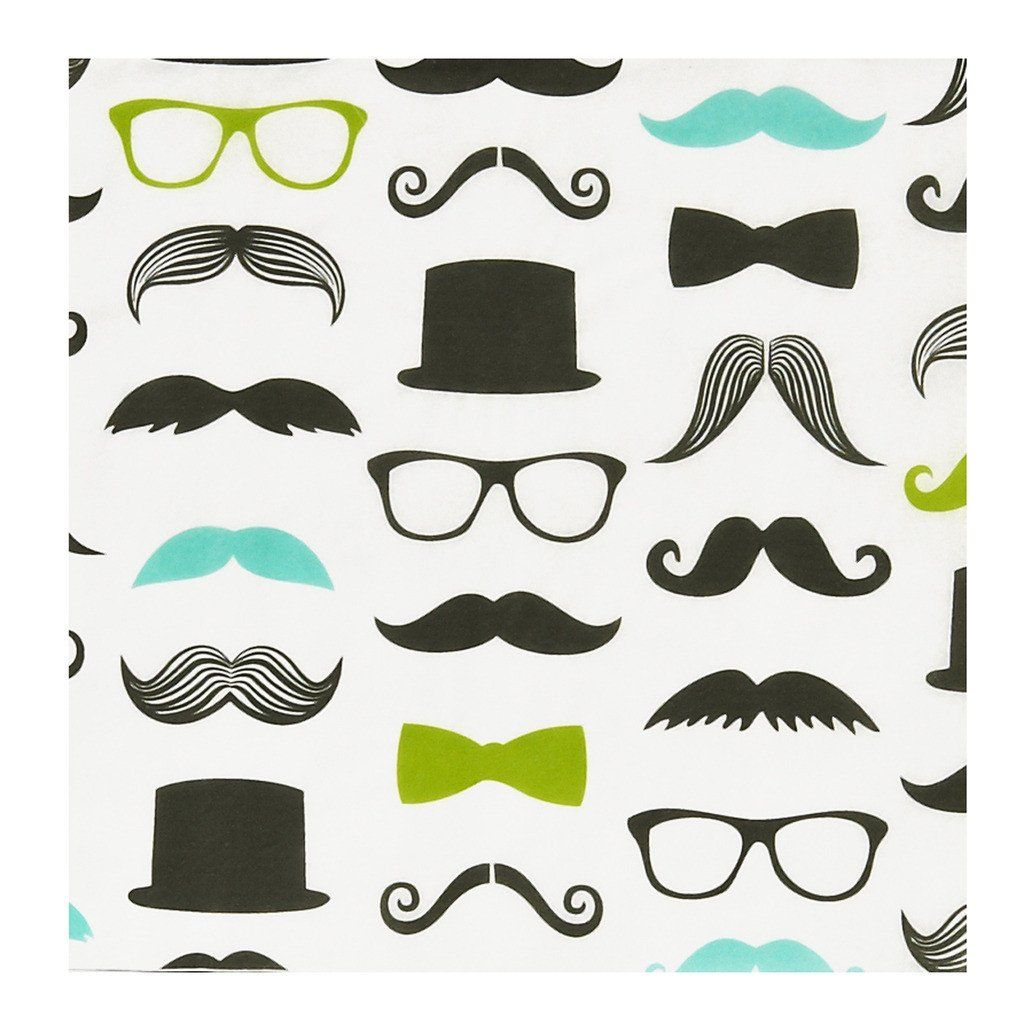 """Mustache Man Lunch Napkins Includes (20) themed lunch napkins. Each 2-ply, Paper napkin measures 6½"""" x 6½"""". Weight (lbs) 0.17 Length (inches) 6.5 Width (inches) 6.5 Height(inches) 1"""