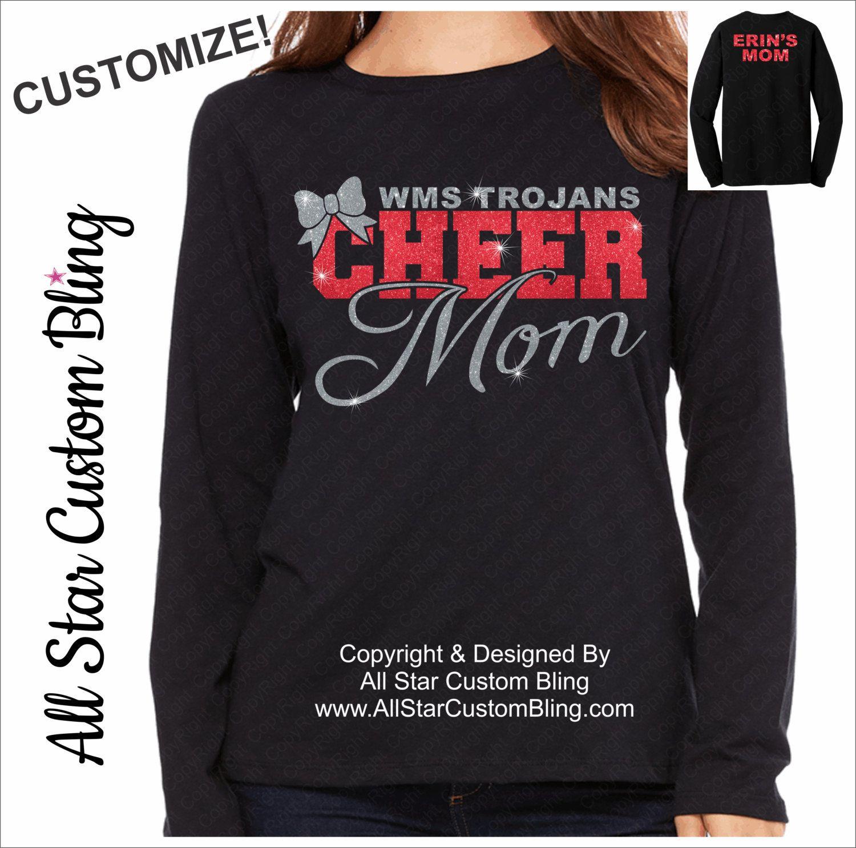 2731ace0f3d4 Cheer Mom Glitter Long Sleeve Shirt, Long Sleeve Cheer Mom Shirts, Cheer  Mom Shirts, Mom Cheer Shirts, Custom Cheer Shirt by AllStarCustomBling on  Etsy