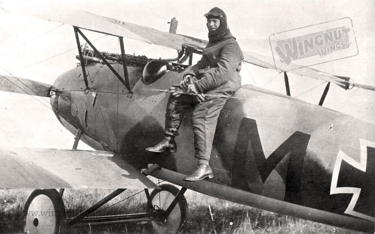 "Albatros D.V Jasta 3, Vzfw Karl Menckhoff (14 April 1883 - 11 January 1949) was a German WWI fighter ace, credited with 39 confirmed victories. Already in his 30s when he learned to fly, he was one of the oldest pilots in the Imperial German Air Service. He won the Pour le Mérite (""Blue Max""), and was given a squadron command. Menckhoff was held as a prisoner of war, along with many other German pilots, at Camp Montoire, near Orléans."