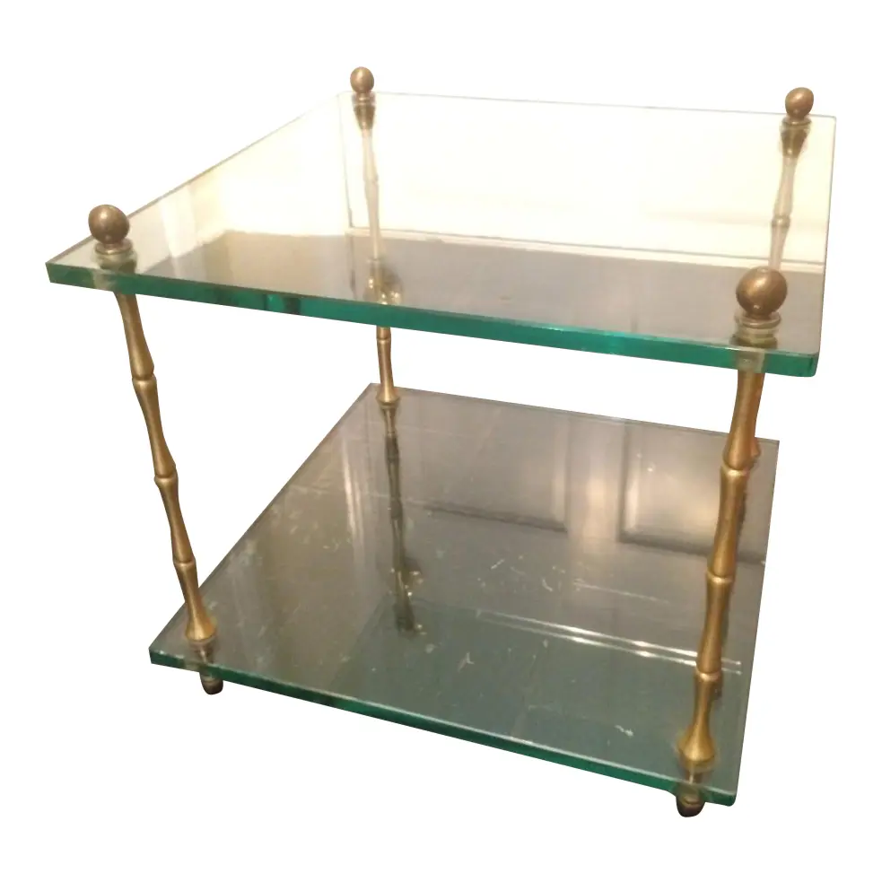20th Century Hollywood Regency Two Tiered Glass Side Table Chairish Glass Side Tables Side Table Small Coffee Table