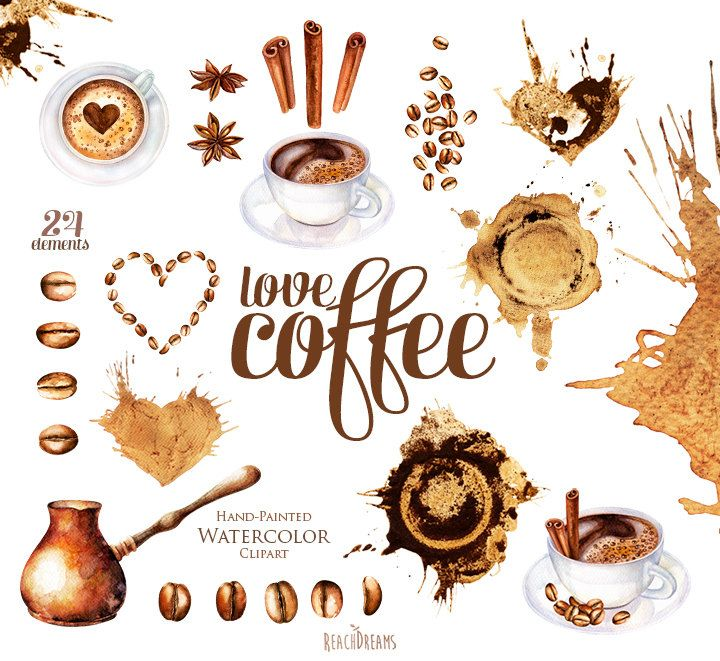 Watercolor coffee clipart, coffee beans, cup of cappuccino, stains ...