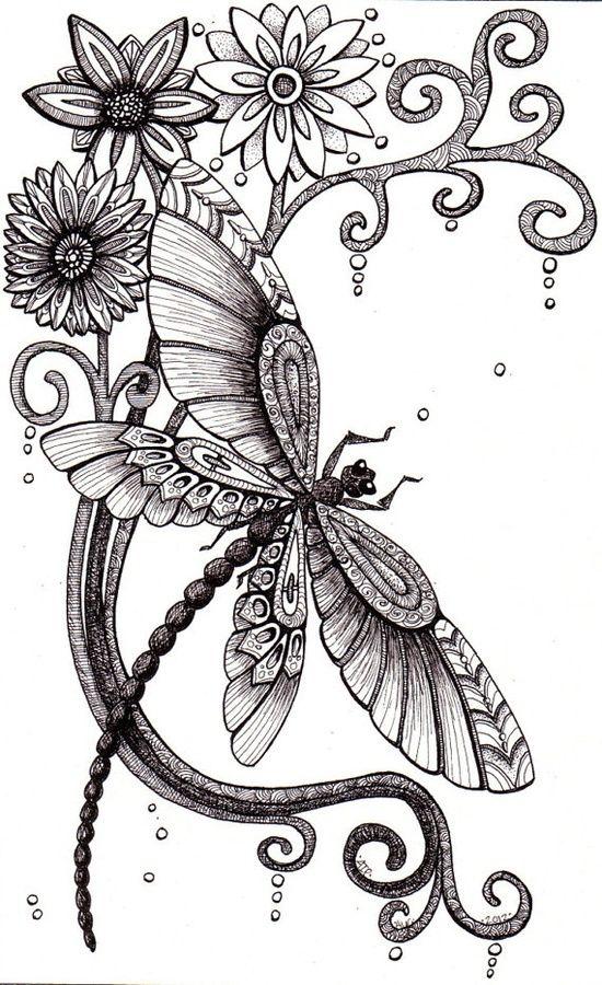 libélula y flores | Dibujos | 그림, 자수 디자인, 자수