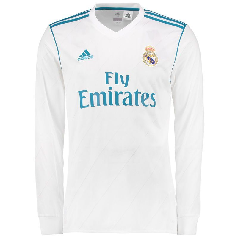 b1558261d Real Madrid adidas 2017 18 Home Replica Blank Long Sleeve Jersey - White
