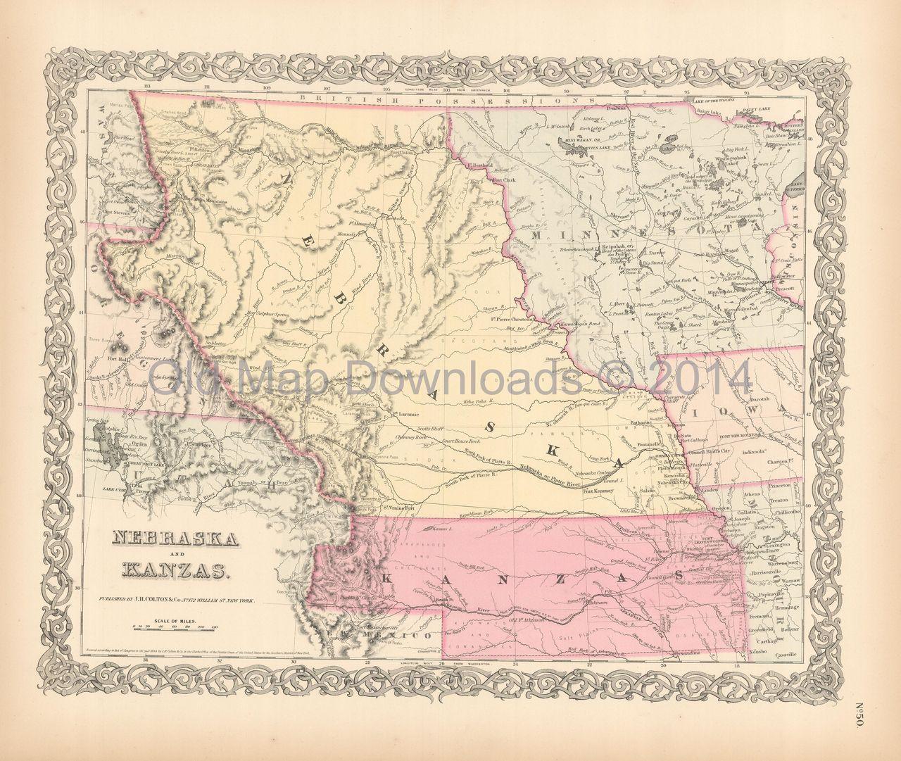 Nebraska Kansas Territory Old Map Colton 1855 Digital Image Scan ...