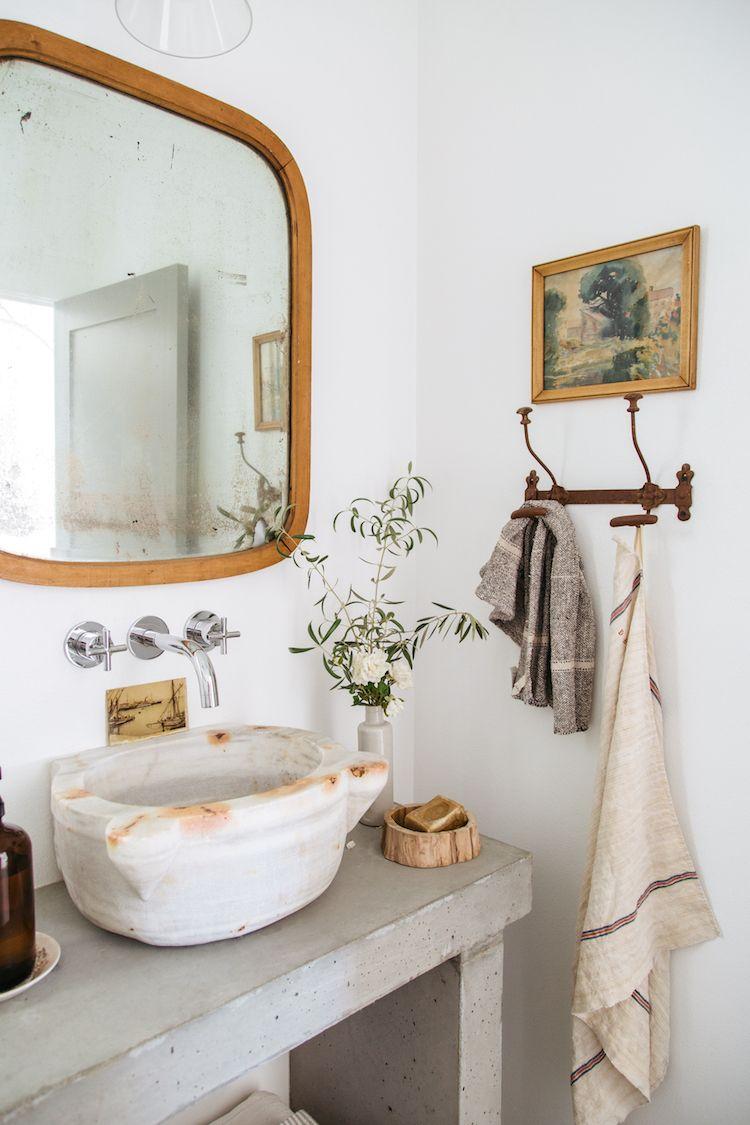 Badezimmerideen · Badezimmer Waschbecken Marmor Naturstein