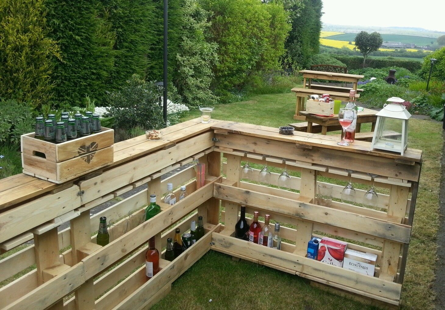 Garden Bar Pub Area With Glassholders Rustic Wood Outside Summer