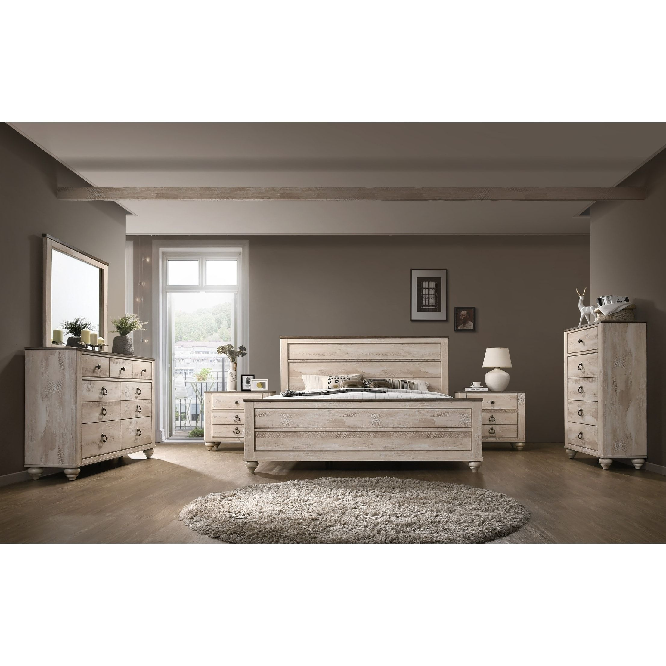 Imerland Contemporary White Wash Finish 6 Piece Bedroom Set Queen Beige King Bedroom Sets Bedroom Set Bedroom Sets