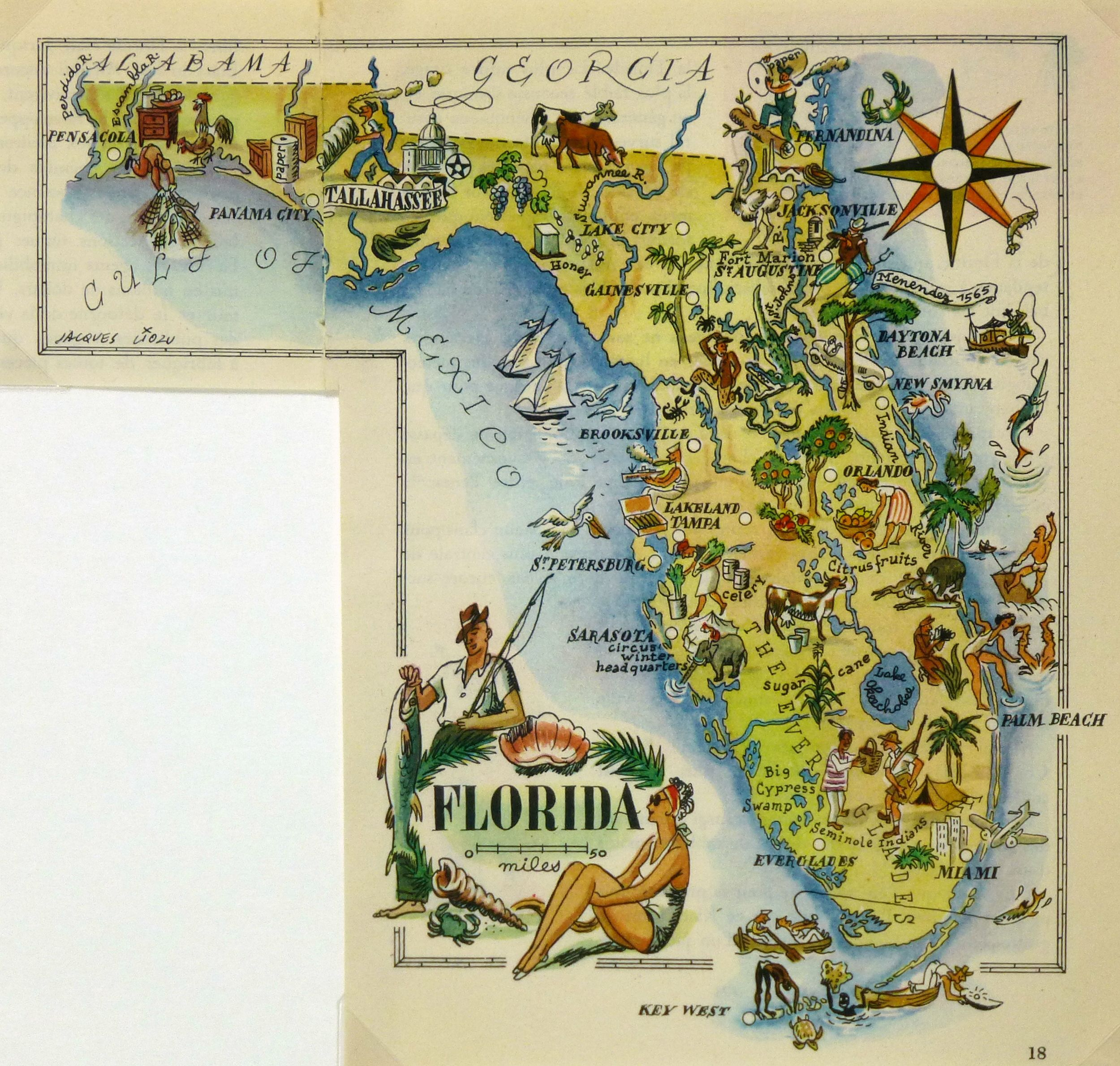 Vintage pictorial map of Florida by Jacqus Lizou in 1946.