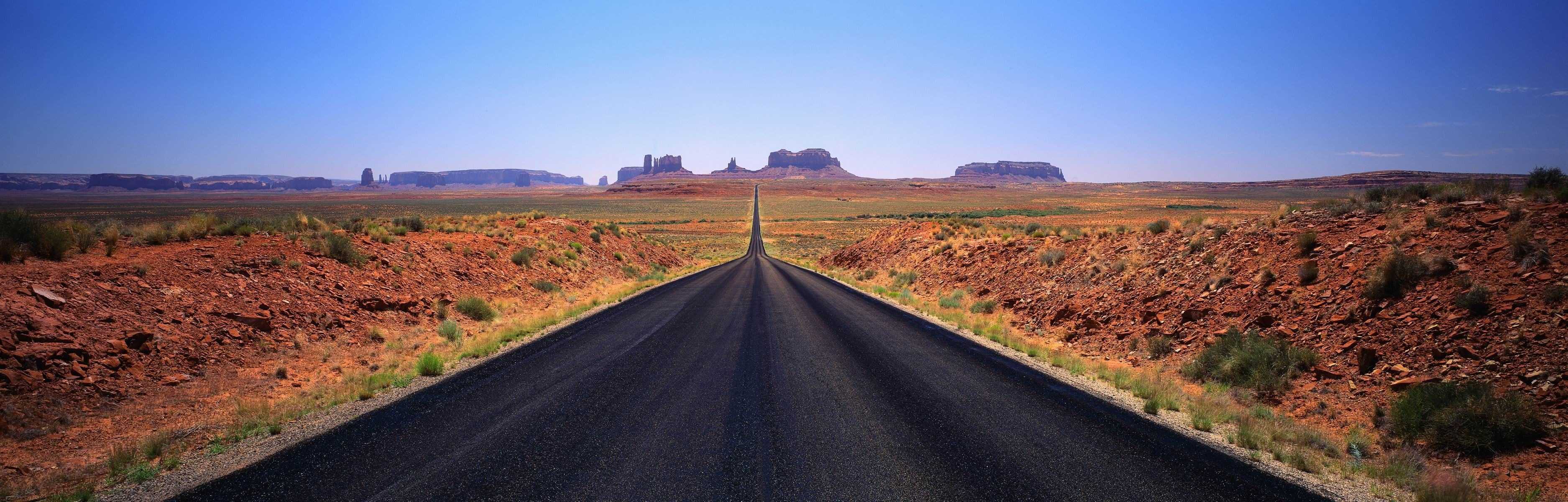 landscape Monument Valley road desert 2K wallpaper