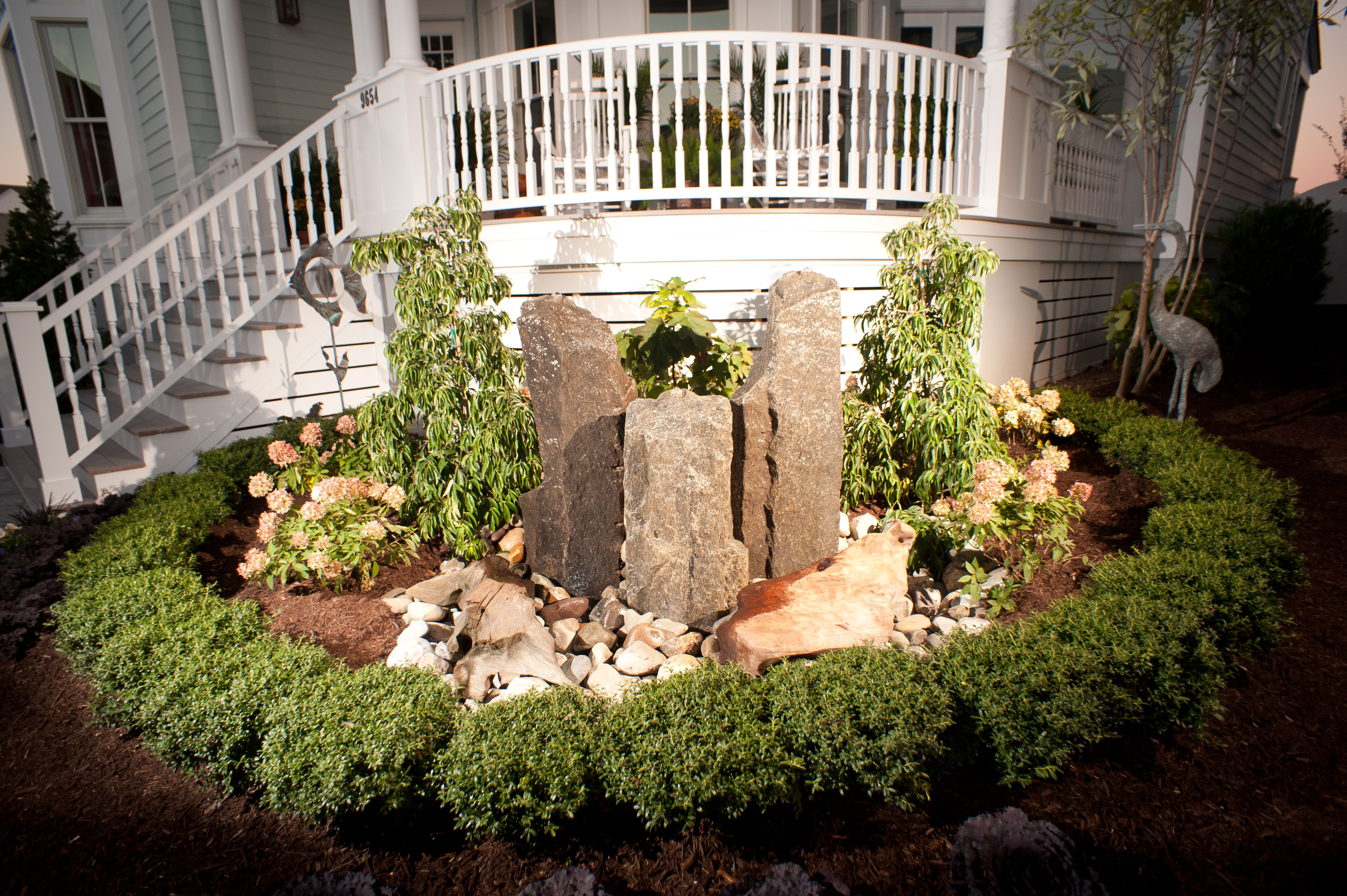 Closeup Of Outdoor Impressions Front Yard Water Feature