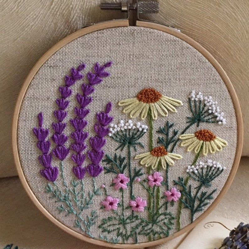 Embroidery Hoop Art Gift For Her Hand Embroidered Lavender Etsy Embroidery Hoop Art Embroidery Wall Art Flower Embroidery Designs
