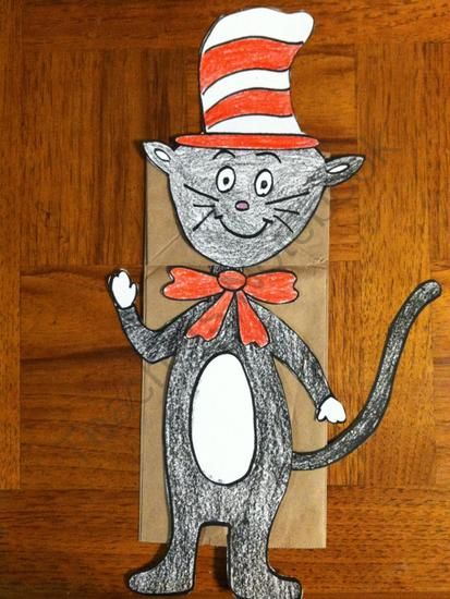 Cat In Hat Finger Puppet Craft Paper