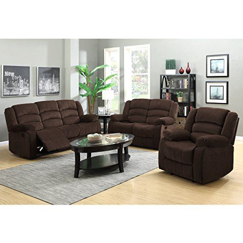 LANGRIA 3Seat Reclinable Sofa And Reclining Loveseat With Recliner Chair  Set Split Back Design Manual Reclining
