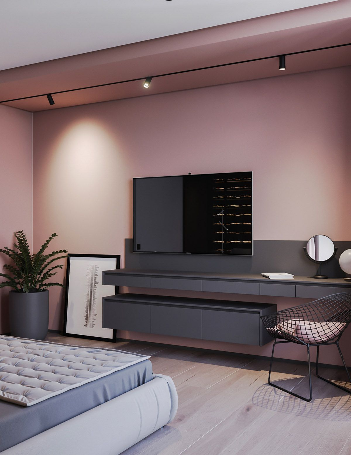 A Striking Example Of Interior Design Using Pink & Grey #housedesigninterior