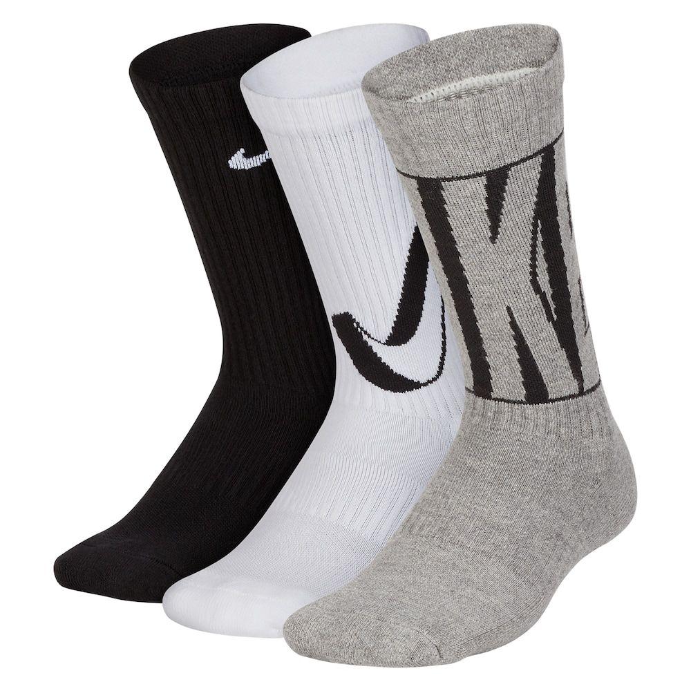Boys nike 3pk crew performance socks size 57 brown
