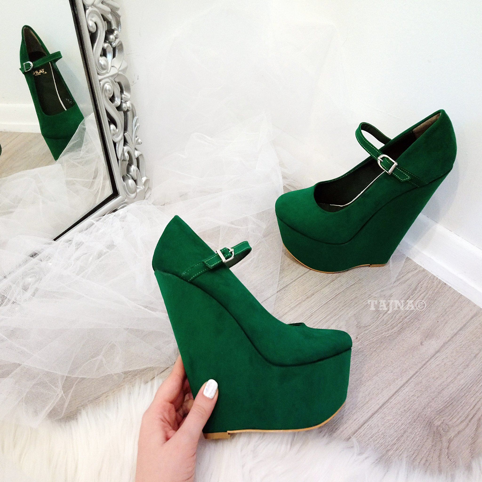 53cca8d9092 Dark Green Suede 17 cm High Heel Wedge Shoes – Tajna Club