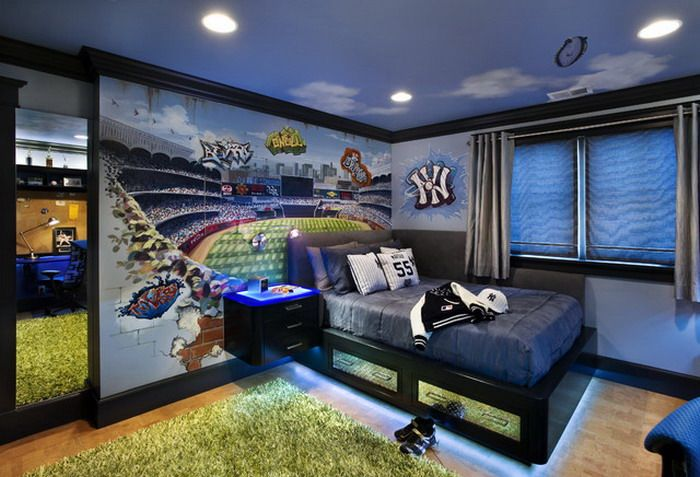 Boys Bedroom Ideas With Wall Mural Love The Rope Light Cool