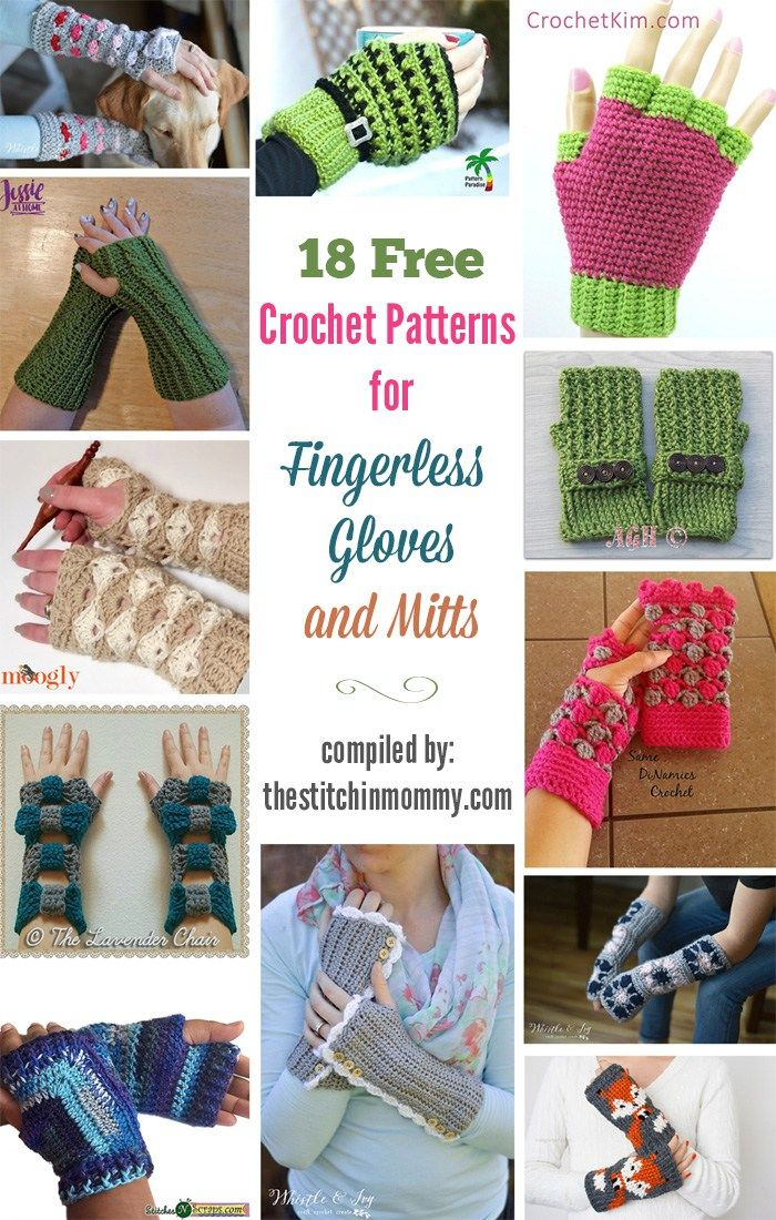 18 Free Crochet Patterns for Fingerless Gloves and Mitts | crochet ...